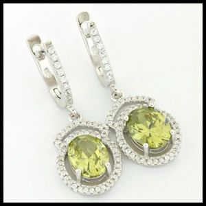 Sterling Silver Peridot and CZ Earrings